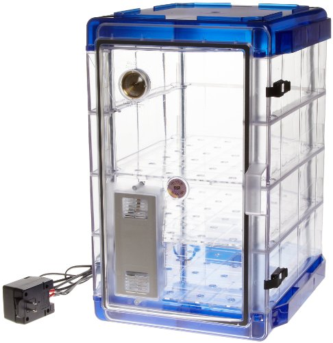 Bel-Art Secador Vertical Profile Clear 4.0 Auto-Desiccator Cabinet with Blue End-Caps; 120V, 1.9 cu. ft. (F42074-1116)