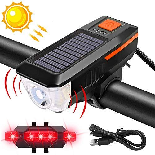 Fahrradlicht Set Solar USB Wiederaufladbare Fahrradbeleuchtung Wasserdicht LED Fahrradlampe Frontlicht und Rücklicht 3 Licht-Modi mit Lautsprecher USB Kabel für Mountainbike (Schwarz Orange Lampe)