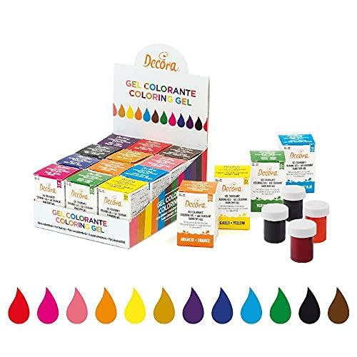 Decora 9600830 Confezione 12 Gel Colorante Assortiti, 28 Grammi