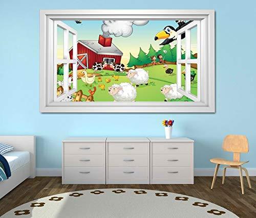 3D Wandtattoo Bauernhof Tiere Kinderzimmer Schaf Wandbild Wandmotiv Wand Aufkleber sticker 11K783_P, Wandbild Größe E:97cmx58cm
