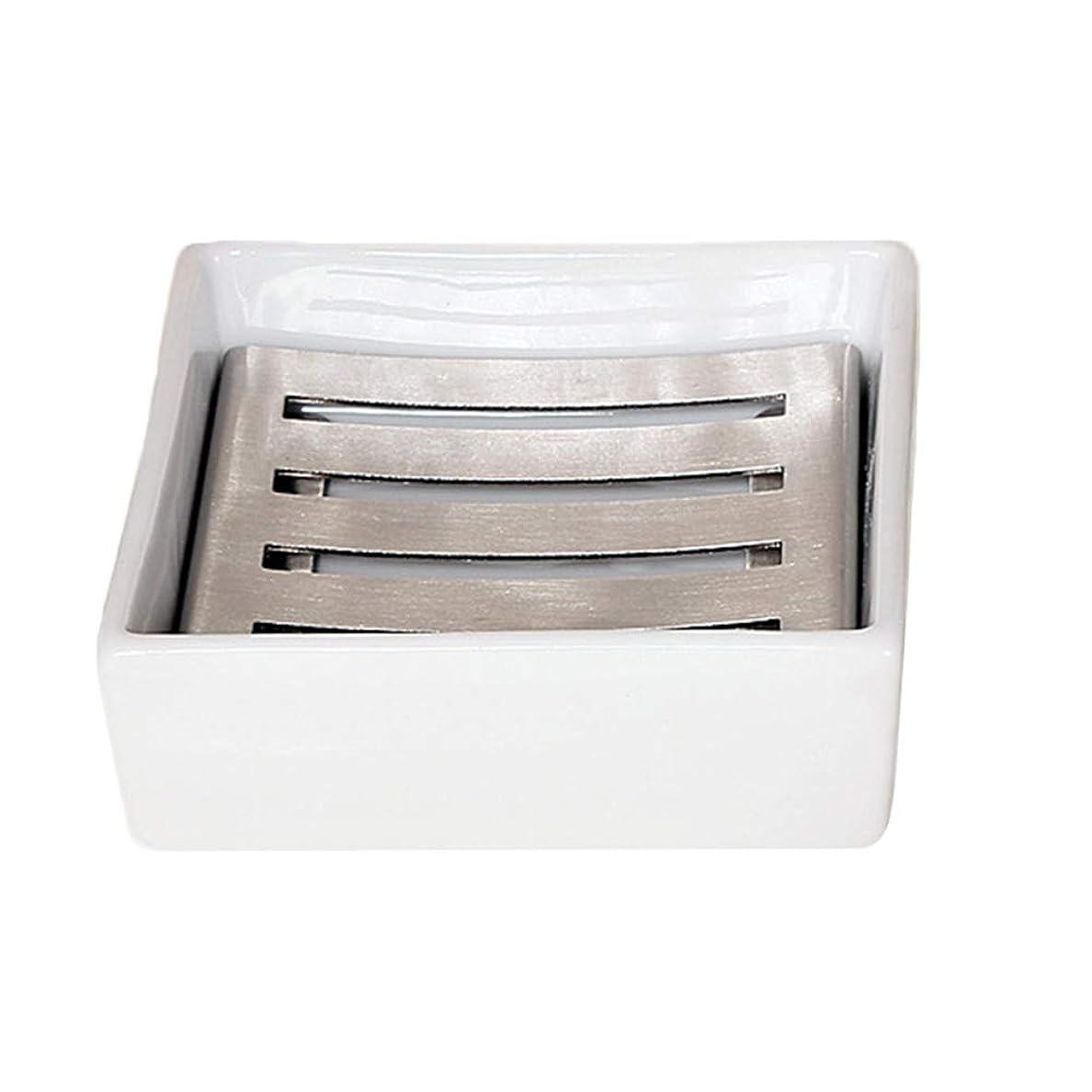 プランター分散価値TOPBATHY セラミックソープディッシュシャワーソープトレイ付きドレンソープセーバーソープホルダー水切り用シャワーバスルームキッチン