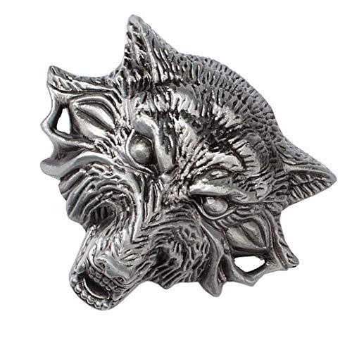 IPOTCH Retro Western Cowboy Metal Belt Buckle for Men's Casual Pants Gentlemen - wolf head, as described