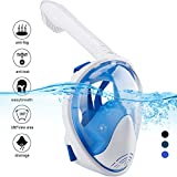 Naedw Full Face Snorkel Mask 180° Panoramic View Diving Scuba Mask Easy breath with Anti-Fog and Anti-Leak with Adjustable Head Straps Design for Adults,Youth,kids (White/Blue, Large)