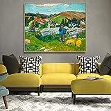 HJKLP Paul Gauguin The Swineherd Brittany ImpresióN De Lienzo Pintura Famosa PóSter Arte De Pared Cuadros para Salon De Estar Decoracion De Pared De Oficina 50x63cmx2 Sin Marco