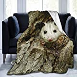 FriendEver Luxury Fleece Woolen Blanket,Cute Possum in A Tree Hole Stitched Edge Cozy Blankets,Plush Thermal Portable Carpet for Bed Couch Sofa