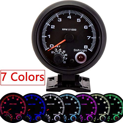CAIZHIXIANG 95MM automático del tacómetro Barco Universal 0-8000 RPM calibrador del Metro con el Inter de Cambio de luz de 7 Colores Racing Metro Tacometro (Color : Negro, Size : Gratis)