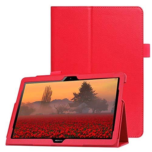 Funda para Huawei MediaPad M5 Lite 10, FANSONG Carcasas de Magnética Cuero PU con Función de Soporte para MediaPad M5 Lite 10 10.1 Pulgadas 2018 (Rojo)