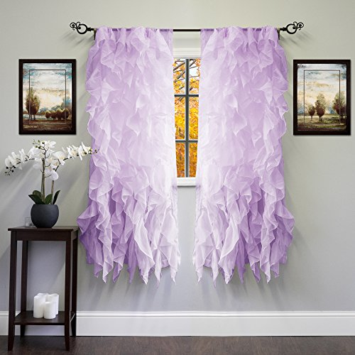 """Sweet Home Collection Sheer Voile Vertical Ruffled Window Curtain Panel 50"""" x 63"""", 63"""" x 50"""", Lavender, 2 Piece"""