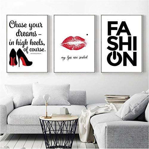Canvas kunst HD-druk schilderij minimalistisch poster wand zwart hoge hakken rode lip Nordic stijl afbeeldingen voor thuis bruiloft decoratie 50x70cmx3 niet ingelijst