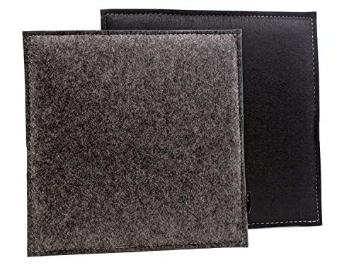 Coussin carré réversible en feutre gris foncé/noir Coussin lavable avec rembourrage pour chaise et banc, résistant à l'extérieur, env. 35 x 35 cm, convient pour les chaises design