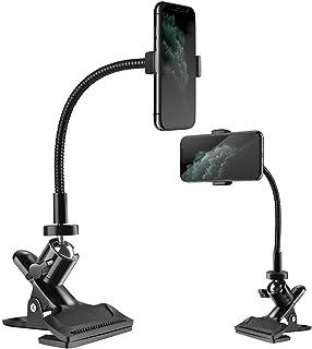 Zacro Schwanenhals Handy Handyhalterung,Handyhalter mit Kardanischer Klammer Universal Flexible,Adapter und Schraube Multifunktional Handyständer für 6 8 Zoll Telefon,Schwarz