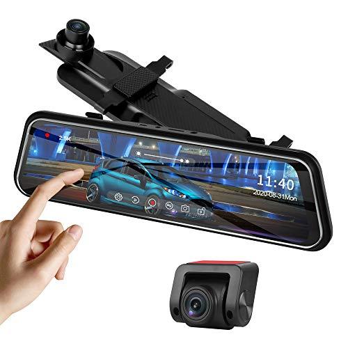 Aggiornato2,5K Dash Cam Specchietto Retrovisore Auto Fotocamera Anteriore e Posteriore 10   Touch Screen Visione Notturna, Fotocamera Doppio Cruscotto con Telecamera per Specchietto Retrovisore Auto