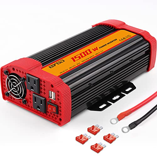 1500W Power Inverter DC 12V to 110V AC Converter and Peak Power 3000W Car Inverter with 2 x 2.1A USB Ports Quick Charging Car Charger, Solar Inverter ETL Listed