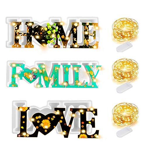 Keyzone 3 Stück Love/Home/Family Epoxidharz Formen Resin 3D Silikonform mit 3 LED Lichterketten für DIY Home Wand Dekor Heirat Valentinstag Thanksgiving Weihnachtens Geschenk