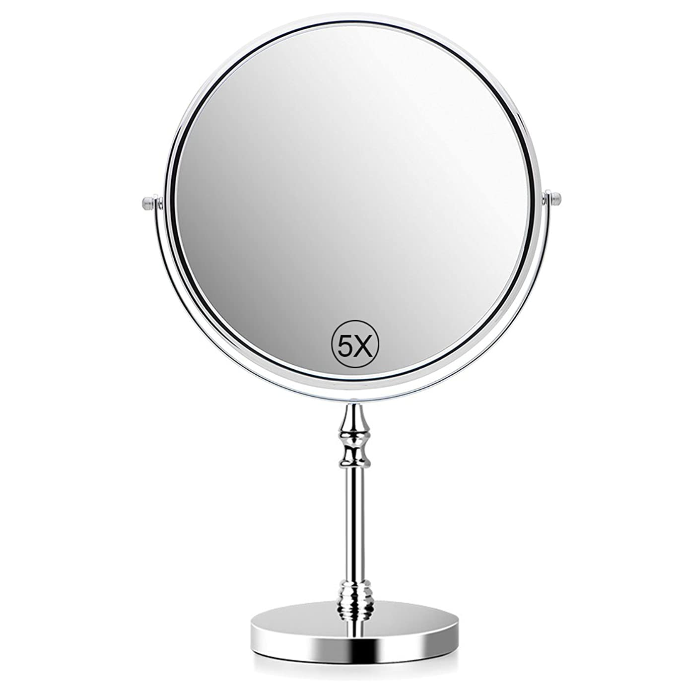 どこにも絶え間ないけん引5倍拡大鏡 化粧鏡 卓上鏡 化粧ミラー 等倍鏡 両面型 360度回転式 60度回転 直径20cm