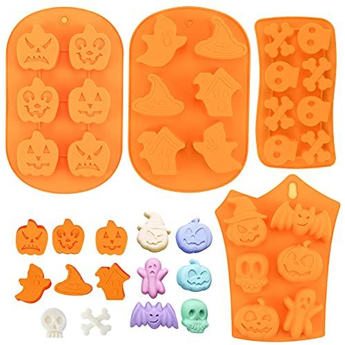 FHzytg 4 Stück Silikon-Backform für Halloween, Halloween Silikon Kuchenform Fledermaus Kürbis Geist Formen für Pralinen, Fondant, Süßigkeiten, Eisform, Kuchendekoration, Zuckerguss, Kuchen