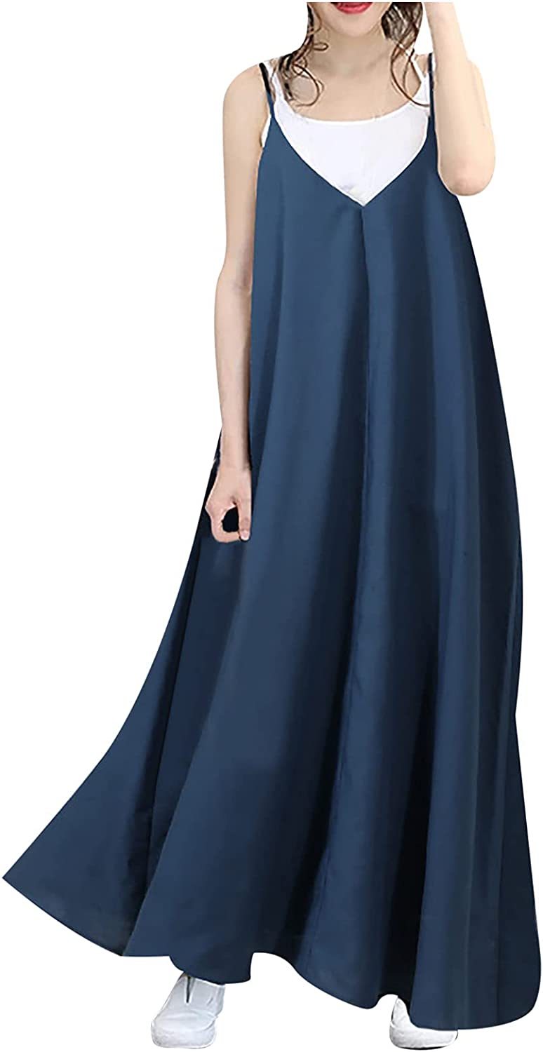 Women's Casual Sleeveless Flowy Maxi Denim Dresses, Loose Solid Skirt V-Neck Open Back Sexy Suspender Long Dress Party Dress