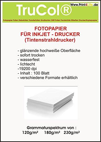 500 hojas de foto A4 de papel, 180 g / m², de alta -glossy (alto brillo) autorrevelables blanco y de color muy alta brillantez--wasserfest brillante seca, para la impresora de inyección de tinta (chorro de tinta)