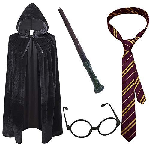 VIROSA 4PC Wizard Cape School Boy Fancy Dress Costume Accessory   Includes...