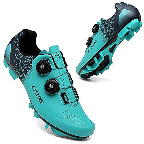 Zapatillas de Bicicleta Unisex Outdoor Calzado de Ciclismo Road Bike Cycling Shoes MTB Bike Shoes Compatible SPD Indoor/Outdoor Mountain Riding Peloton Shoe,Azul,41