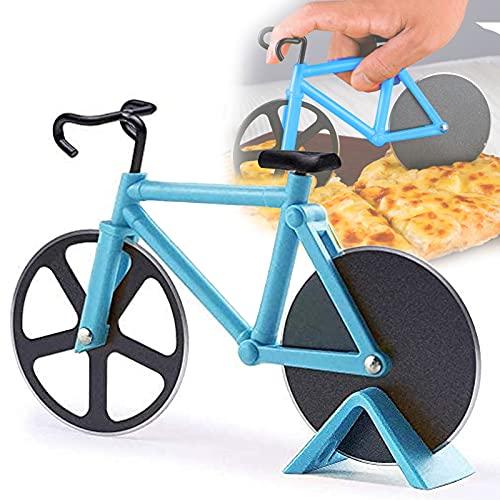 Fahrrad Pizzaschneider, Edelstahl-Pizzaschneider, Edelstahl-Fahrrad-Radschneider, Kuchenschneider, Antihaftbeschichteter Edelstahl Pizzaroller mit Ständer, 100% Essen Grade Pizza Schneider, Himmelblau