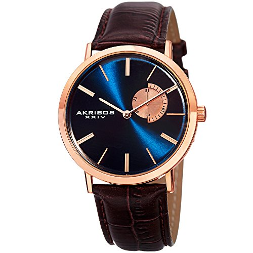 Akribos XXIV Essential Mens Dress Watch - Sunburst Effect Dial - Quartz Movement - Leather Strap - Blue Brown