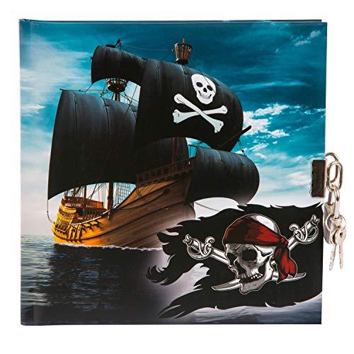 goldbuch 44 077 Tagebuch Piraten, Kindertagebuch mit 96 weiße Seiten, Notizbuch abschließbar, Kinder Journal mit Schloss & 2 Schlüssel, Einband mit Kunstdruck, ca. 16,5 x 16,5 cm, Papier