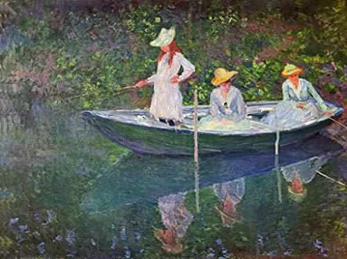 Kunstdruck/Poster: Claude Monet Im Kahn in Giverny - hochwertiger Druck, Bild, Kunstposter, 85x65 cm