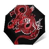 Paraguas japonesas de dragón rojo resistente al viento compacto para mujeres hombres paraguas plegable de viaje