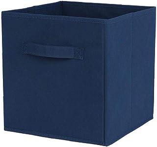Tissu panier Bin Boîtes de rangement de rangement pliable cubes Organisateur avec poignées Fournitures Bleu, stockage