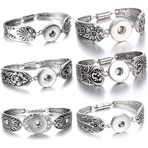 Lovglisten 6pcs Flowers Carved Vintage Magnetic Snap Bracelet Bangle for 18mm Snap Button Jewelry (11)