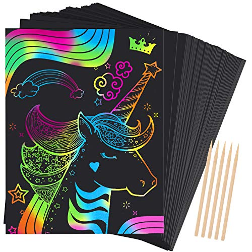 Dreamingbox Geschenk Mädchen 3-13 Jahre, Kratzbilder für Kinder Party Weihnachts Geschenke für Jungs 3-12 Jahre Kinder Spielzeug Mädchen Basteln Mädchen 4 5 6 7 Jahre Mitgebsel Kindergeburtstag