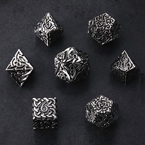 Antique Silver Endless Honor Dice 7 Piece Polyhedral Metal Dice Set Celtic Knots Extra Heavy & Large for DND Dungeons and Dragons Call of Cthulhu Pathfinder Tabletop RPG Dice Fighter Dice Artificer