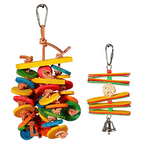 kidus Wooden Biscuit Parrot Toy Set Small Medium Bird Cage Accessory Parakeet Items Agapornis Toys