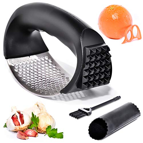 Garlic Press – Garlic Press Rocker with Cleaning Brush and Orange Peeler - Premium Food - Grade Stainless Steel – Ergonomic Handle – Ginger and Garlic Crusher – Easy to Use and Clean