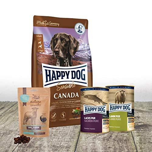 Happy Dog Canada 12.5 kg + 1 x 375 g Dose Lachs pur + 1 x 400 g Dose Lamm pur + 2 x 150 g Emsländer Häppchen Lamm