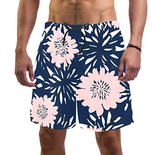 Pantalones cortos de playa para hombre de secado rápido con flores de bolsillo, color azul y rosa pastel