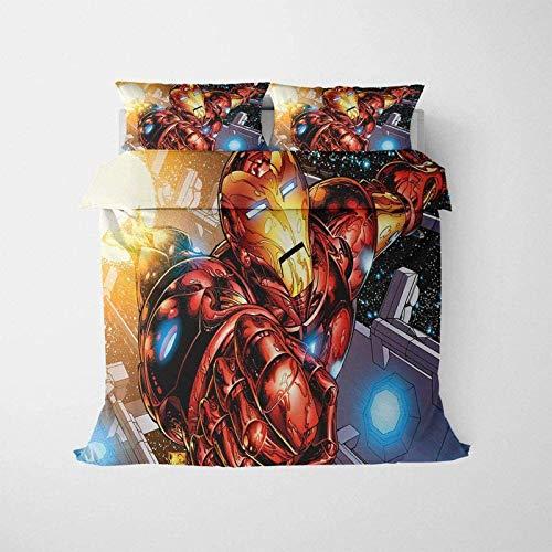 QWAS Juego de ropa de cama de 3 piezas, diseño de Iron Man de Los Vengadores, serie Marvel (V01,200 x 200 cm + 50 x 75 cm x 2)
