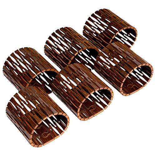 NAMASTI Serviettenringe 6 Stück Birkenholz gebeizt für Servietten/Stoffservietten Hochzeit Weihnachten Geburtstag Tisch Deko Holz(braun, 6)
