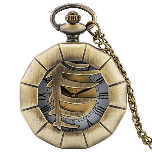 YJRIC Taschenuhr Retro Bronze Polygon Hohlskelett Halskette Uhr Fishbone Bone Design Anhänger Quarz Tasche Uhrenkette Schmuck Antike Geschenke