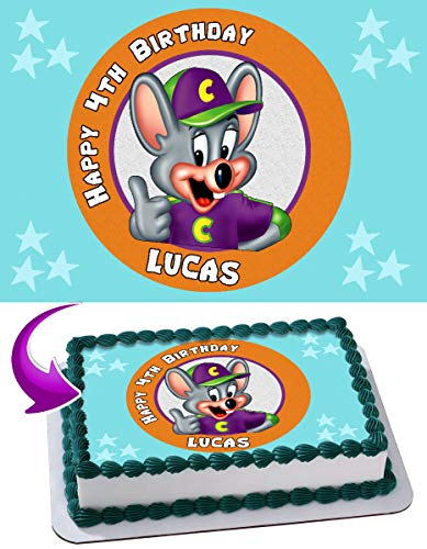 Cakecery Chuck E. Cheese's Edible Cake Image Topper Personalized Birthday Cake Banner 1/4 Sheet