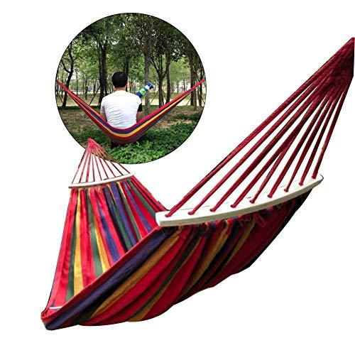 Golden_flower Red Outdoor Canvas Camping Nylon Hammock Swing Bend Stick Steady Garden Swing Hanging Chair Hang Mat
