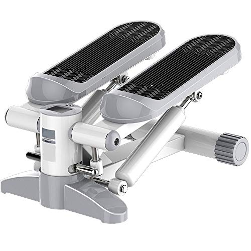 HLB-JJ Stepper, Treppensteiger Aerobic Step for Übung, Mini Stepper Trainingsmaschine mit Widerstand-Band-Multifunktions-LCD-Monitor, Aerob Stepper (Color : White)