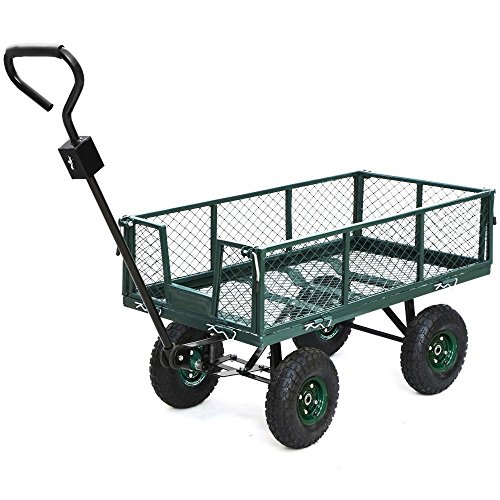Yaheetech Heavy Duty Garden/Lawn Utility Cart/Wagon with Removable Steel Side Mesh, 800LB Capacity, Green