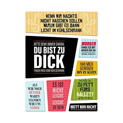 trendaffe - Diät Kühlschrankmagnete 8er Set zum Thema: Abnehmen Fett Dick Essen Süßigkeiten