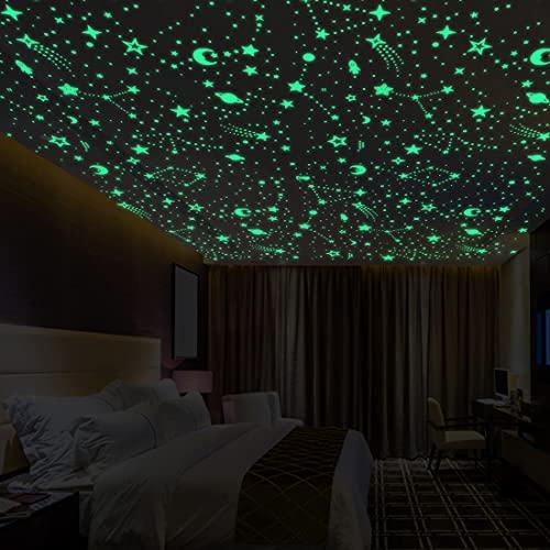 TouGod 849pcs pegatina de techo fluorescente luminosa, espacio exterior astronauta estrella punto pegatina de pared luminosa para tu cielo estrellado pegatina de techo luminosa.