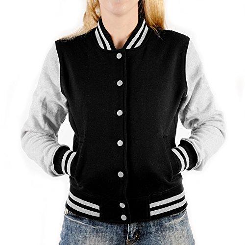 Goodman Design modische Damen Mädchen College Jacke mit Rock'n Roll Motiv Farbe: schwarz Gr: M