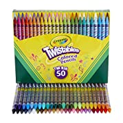 One Crayola Twistable colored pencils coloring set with 50 Twistable colored pencils, exclusive to Amazon No sharpening or peeling required, just twist up these drawing pencils to keep them sharp A durable plastic barrel provides protection to the co...