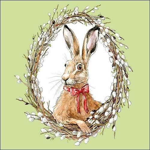 20 Servietten Hase im Kranz auf grün   Ostern   Frühling   Tischdeko 33x33cm