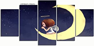 PENGTU Paintings Modern Canvas Painting Wall Art Pictures 5 Pieces Digital Painting Angel Girl Kneeling Praying Wall Decor HD Printed Posters Frame